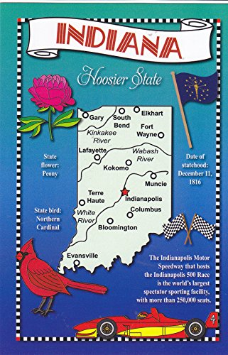 (STATES2IND - INDIANA - Hoosier State, POSTCARD MAP ; State Nickname - HOOSIER STATE .- Statehood: 1816; Capital: Indianapolis; State Flower: Peony A U.S. State POSTCARD from HibiscusExpress)