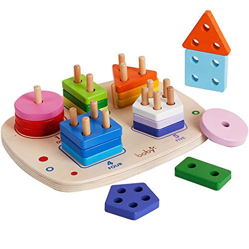 Wooden Geometry Shape Sorting Stacking Blocks Puzzle Board Games Preschool Fraction Learning Educational Toys for Kids Toddlers by bodolo
