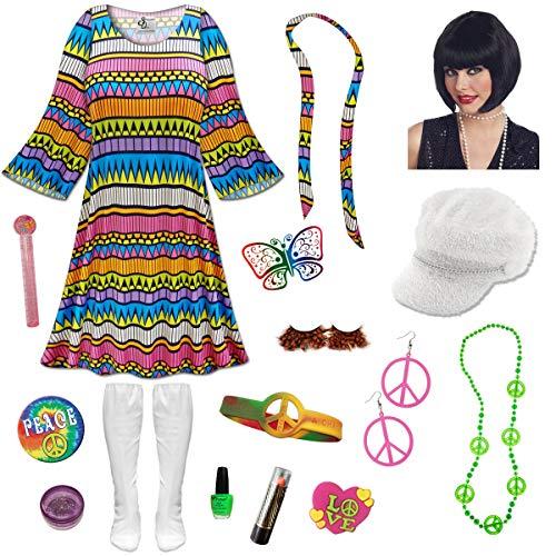Delirium Gogo Dancer Plus Size Halloween Costume Black Wig Kit 0x/Regular ()