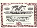 Custom Printed Corporate Stock Certificates, HUBCO, Burgundy, 20-Pack
