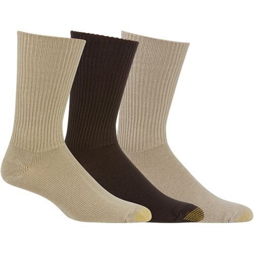 GoldToe Fluffies Casual Socks -Size 10-13, Tan/Taupe/Brown 523S (3-Pack) (Toe Toe Socks Stretch Gold)
