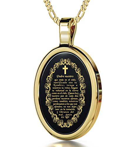 stian Cross Necklace - The Lord's Prayer Pendant Inscribed in 24k Gold in Spanish on Oval Black Onyx Stone, 18