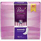 Poise Incontinence Overnight Pads, Ultimate Absorbency, Long, 90 Count