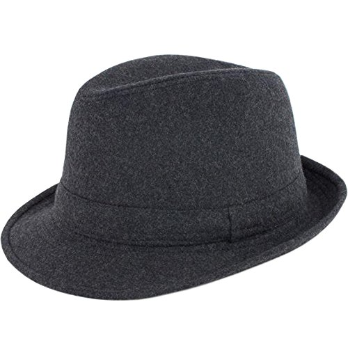 ALL IN ONE CART Men's Classic Manhattan Structured Gangster Trilby Fedora Hat Short Brim Panama Hat