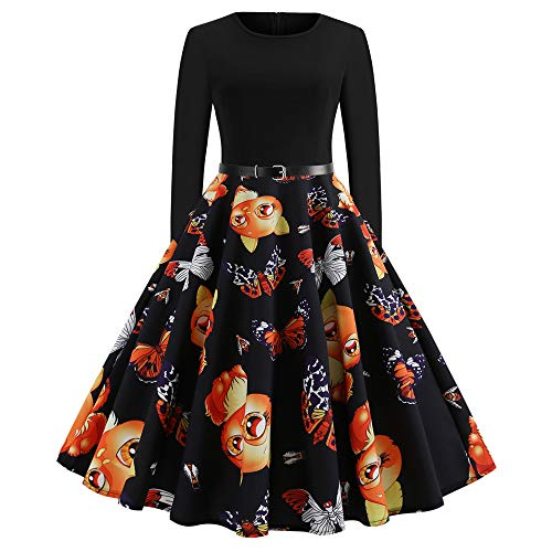 (JOFOW Womens A Line Dresses Christmas Costume Cute Cat Butterfly High Waist Belted Swing Casual Tunic Elegant Midi Dress (XL)