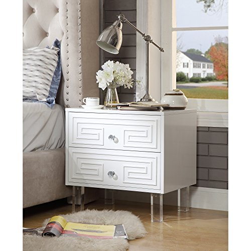 White Lacquer Glossy Finish - Aristotle White Glossy Nightstand - Lacquer Finish | Side Table | Acrylic Lucite Legs | Inspired Home