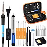 Full Set 60W 110V Electric Soldering Iron Kit with Adjustable Temperature Welding Iron, 5pcs Tips, Desoldering Pump, 2pcs Tweezers, Tin Wire Tube, Stand and 6pcs Aid Tools in PU Carry Bag #DLT-025