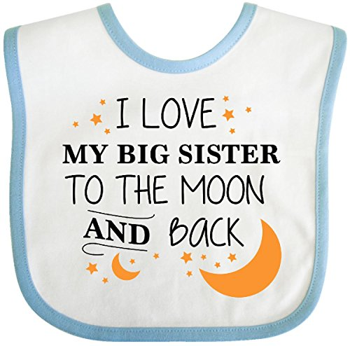 Inktastic - I Love My Big Sister To The Moon and Back Baby Bib White/Blue 29629