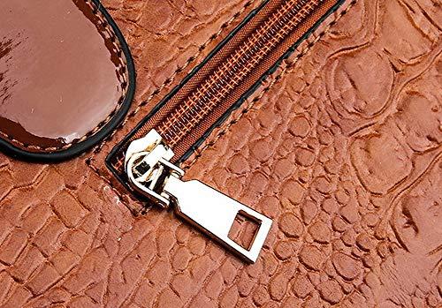 Borse a FBUIBD181591 Nero AllhqFashion Donna Moda tracolla cerniere Luccichio tracolla Borse a Marrone vxTfXIq
