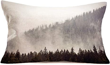 Amazon Com Fukeen Foggy Forest Trees Throw Pillow Covers Cotton Linen Natural Scenery Mountain Pillow Cases Rustic Farmhouse Decorative Pillow Cushion Cover 12x20 Inch Cotton Linen Pillowcases Home Kitchen
