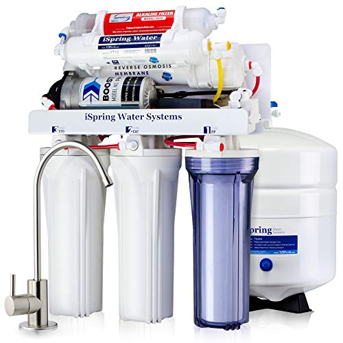 iSpring RCC7P-AK Boosted Performance Under Sink 6-Stage Reverse Osmosis Drinking Filtration System and Ultimate Water Softener with Alkaline Remineralization