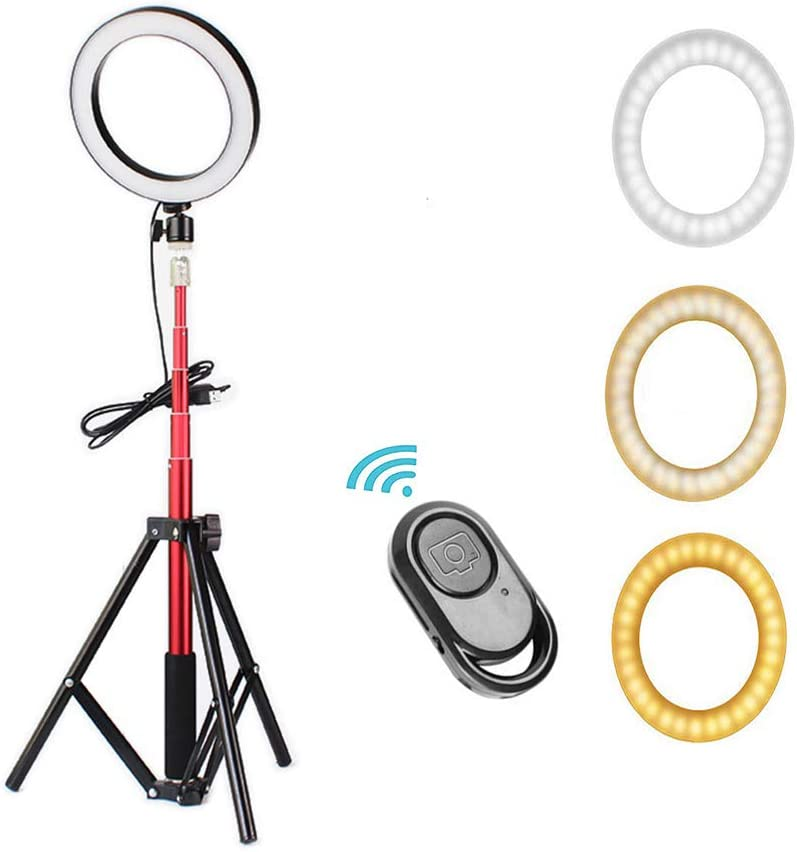 Jumro 6 Selfie Ring Light Dimmable with Tripod Stand /& Cell Phone Holder Mini Led Camera Ringlight for Live Streaming//Makeup//YouTube Video//Photography Remote Control