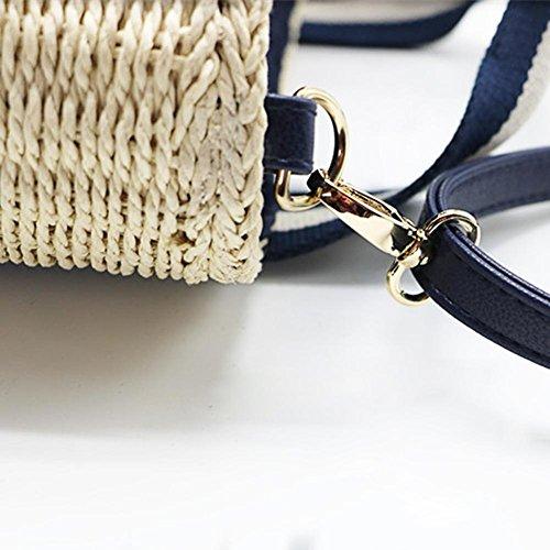 tissu Shopping Accessoire plage Crossbody Sac main blanc Bleu dangers voyage de de Shoulder de vacances Paille été à Noir d'épaule Sac de de sac pour Crossbody Sac Plage 8xSq5q0H
