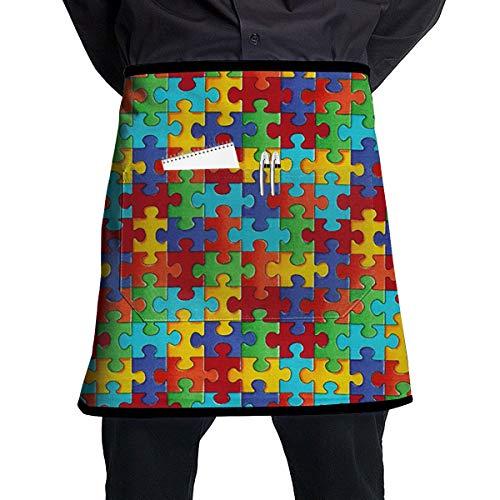 ZZJIAK Colourful Jigsaw Puzzle Pieces Apron with Pockets Locked£¨21.2 X17.7 Inches£Restaurant Half for Cooking Baking Crafting Gardening BBQ