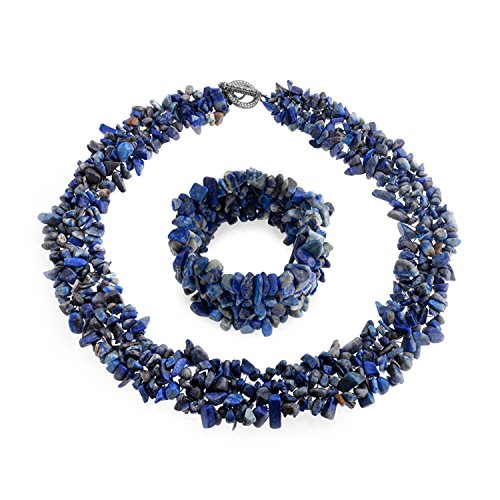 Bling Jewelry Multi Strands Simulated Lapis Lazuli Chips Cluster Necklace Bracelet Set Silver (Strand Multi Stone Necklace)