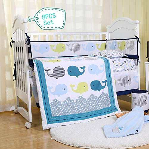 Spring Baby Whales Crib Bedding Set 8-Piece for Baby Boys and Girls, Blue/Green/Grey Animals Cotton Crib Set with Bumper Pads ()