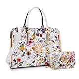 MKP Collection Handbag with Matching Wallet~Fashion Shoulder handbag~Beautiful Satchel and Lady Purse (7555W) White Flower