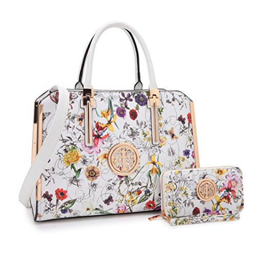 MKP Collection Handbag with Matching Wallet~Fashion Shoulder handbag~Beautiful Satchel and Lady Purse (7555W) White Flower by Maya Karis Purse