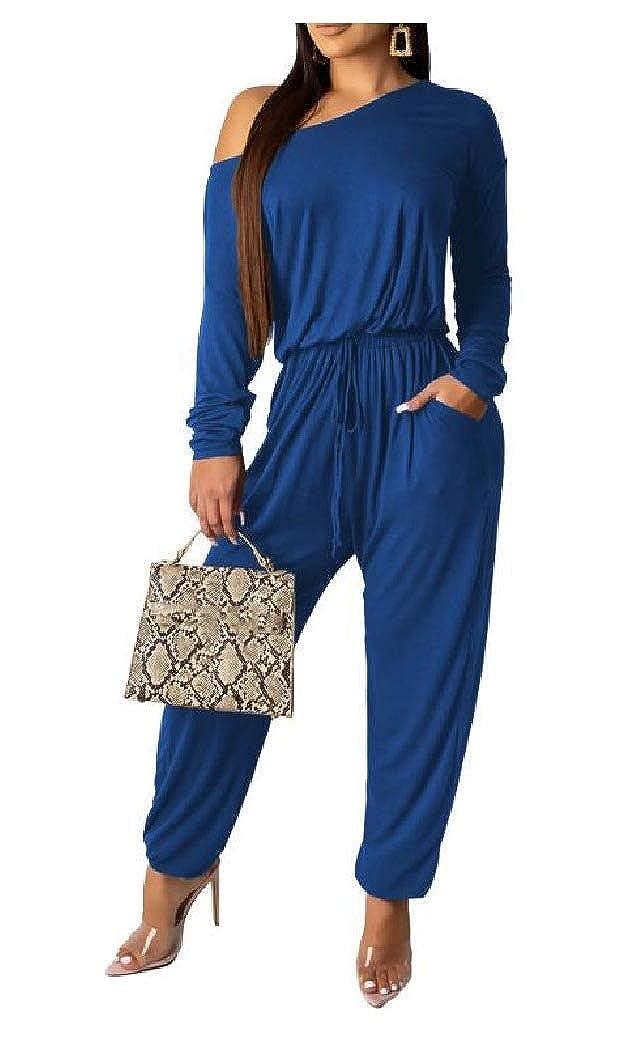 Winwinus Women Long Sleeve Casual Pure Autumn Off Shoulder Jumpsuits