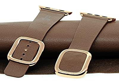 JSGJMY Smart Watch Band 42mm Leather Bracelet Replacement Strap for Smart Watch Sport & Edition (Brown+Rose Gold Buckle, 42mm L)