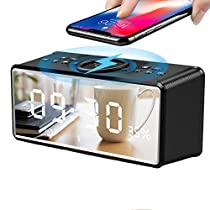 Alarm Clock withBluetooth Speaker 4.2 and Large Mirror, XIAOKOA Portable Wireless Stereo Sound Speaker Built-in TF Card,FM Radio,Handsfree Calling, LED Nightstand Clock and LED Dimmable Display