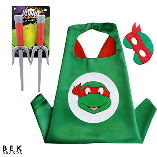 Bek Brands Children's Superhero Costume Cape and Mask Sets (TMNT - Raphael w/Sai)]()