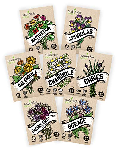- Edible Flower Seeds Variety Pack - 100% Non GMO - Nasturtium, Viola, Calendula, Chamomile, Chives, Bachelor Button, Calendula, Borage for Planting in Your Edible Blooms Culinary Garden