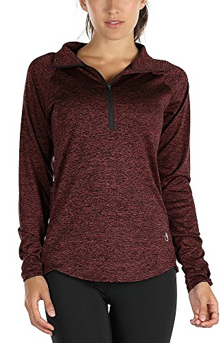icyzone Women's Workout Yoga Track Jacket 1/2 Zip Long Sleeve Running Shirt (L, Purplish Red)