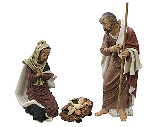 "50"" 3 Piece Outdoor Holy Family Nativity Christmas Yard Art Statue Set, Large"