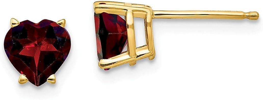 Details about  /14K Yellow Gold 6 MM Heart Garnet Stud Earrings MSRP $306