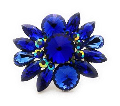 Flower Rhinestone Ring Fashion (Teri's Boutique Large Flower Crystal Rhinestone Women Fashion Accessory Jewelry Adjustable Rings (Blue))