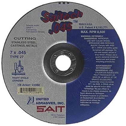 Image of Home Improvements United Abrasives-SAIT 22088 Type 27 7 Saitech Cutting Wheel 7-Inch x .045 x 7/8-Inch, 50-Pack
