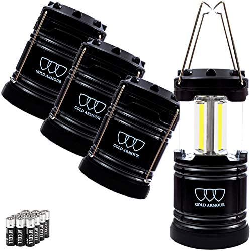 Gold Armour 4 Pack LED Camping Lantern Portable Flashlight with 12 aa Batteries – Survival Kit for Emergency, Hurricane, Power Outage Christmas