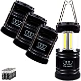 Gold Armour 4 Pack LED Camping Lantern Portable Flashlight with 12 aa Batteries - Survival Kit for Emergency, Hurricane, Power Outage Christmas (500 Lumens)