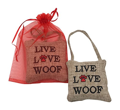Live Ornament (Pet Dog Christmas Tree Ornament 2017 Gift Set - Live Love Woof - Comes In A Beautiful Organza Bag Ready For Gifting)