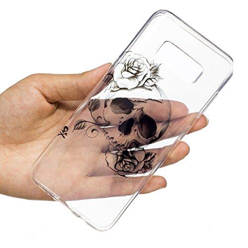 Baiwoda Funda Samsung Galaxy S8 PLUS Carcasa de Silicona TPU Funda Ultra Delgada Carcasa Flexible Ligero Caja Anti Rasguños Casco Anti Choque Clear Transparent Case para Samsung Galaxy S8 PLUS - Piña  Rosas Esqueléticas