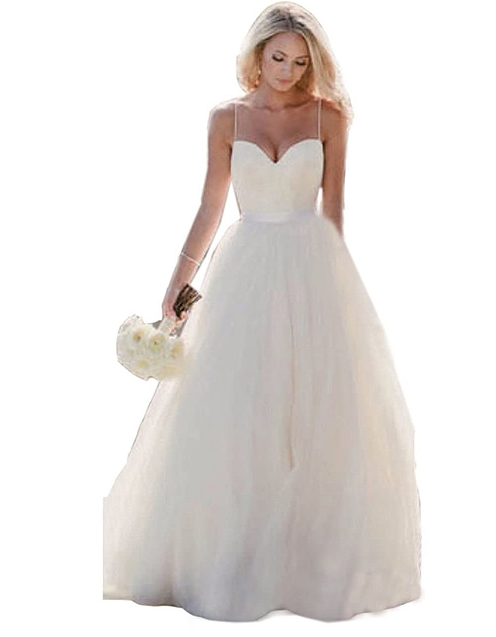 Wedding Dress Simple Spaghetti Straps Tulle Ball Gowns Wedding