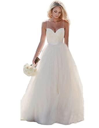 Wedding Dress Simple Spaghetti Straps Tulle Ball Gowns Wedding ...