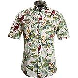 APTRO Men's Short Sleeve Floral Birds Casual Button Down Shirt APT021 L