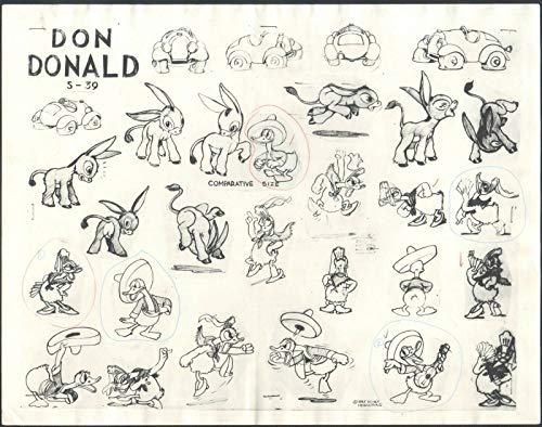 (1934 Silly Symphonies Donald Duck FIRST HEADLINE CARTOON production animation Lithograph model sheet from Don Donald by Walt Disney)