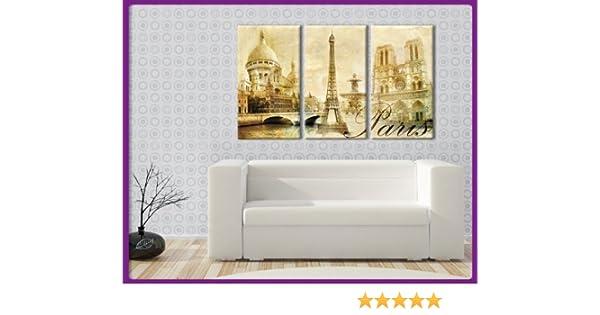 Bilderdepot24 Bastidor Imagen - Cuadros en Lienzo Vintage Look Paris (Francia - Paris) 120x80cm 3 Partes - Made in Germany!: Amazon.es: Hogar