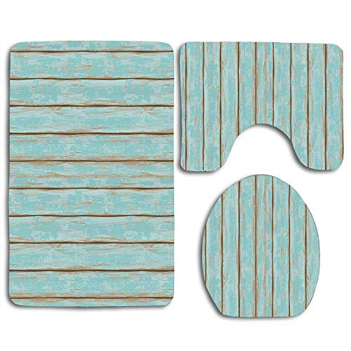Black Weathered Cottage Pub - deer sky Old Fashioned Weathered Rustic Planks Summer Cottage Beach Coastal Theme Comfort Washroom mat Non-Slip Absorbent Toilet Seat Cover Bath Mat Lid Cover 3pcs/Set