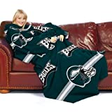 NFL Philadelphia Eagles Comfy Throw Blanket with Sleeves, Stripes Design