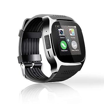 Wolfsay Brazalete Deportivo Bluetooth T8 Reloj Inteligente con cámara Reloj de Pulsera Bluetooth para iOS Android