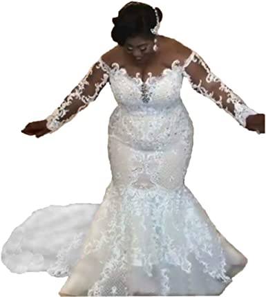 Amazon Com Chady Lace Mermaid Wedding Dresses Plus Size 2019 Beaded Appliques Long Sleeve Sheer Scoop Mermaid Bridal Gowns Clothing