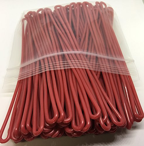 Red Plastic Luggage Tag Loops, 6 inch, 100/pk (aka Worm Loop)