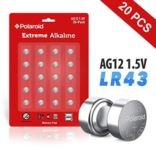 Polaroid Extreme AG12 LR43 386 301 L1142 186 1.5V Button Cell Alkaline Batteries Mercury Free 0% Hg (20-Pack) - 2025 Expiry Date (Best Car Batteries On The Market)