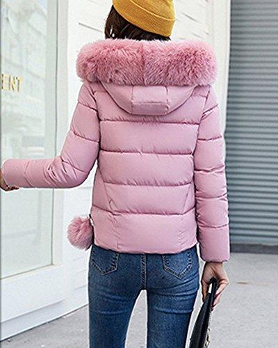 Colore Corta Dimensioni Delle Cotone Giacca Imbottito Grande Di Grandi Collare Rosa Sottile Donne Di Giubbotto aUnPn4q1x