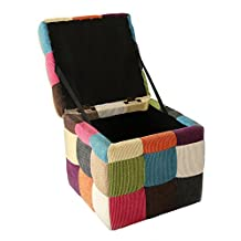 """Chunmei Linen Square Folding Organizer Cube Storage Ottoman Bench Footrest Stool Coffee Table,Camping Fishing Stool(Small:11.8""""×11.8""""×11.8"""")"""
