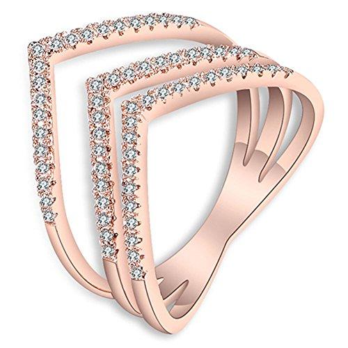 Black Friday Deals Fashion Women 18K Rose Gold Plated Triple V Shaped Mid Finger Rings - Men V Shaped